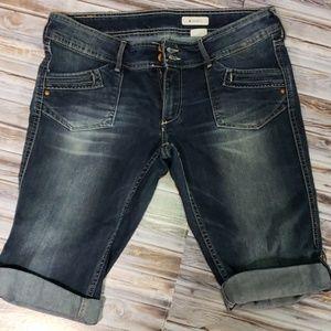 H&M Denim Distressed Bermuda Mid Rise Shorts